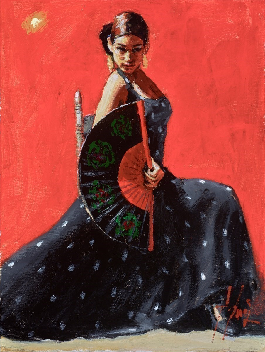 Study for Black Flower IV (Vertical) by Fabian Perez -  sized 12x16 inches. Available from Whitewall Galleries